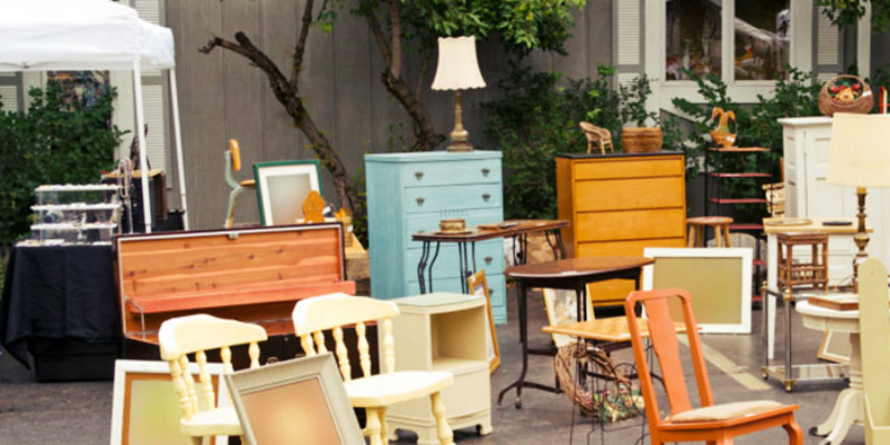 furniture and other stuff in a garage sale